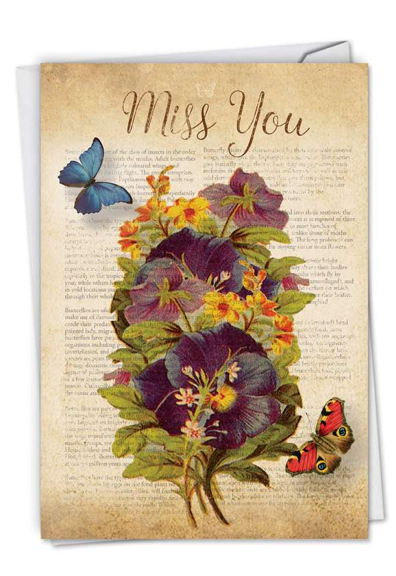 Fluttering Words: Creative Miss You Printed Card