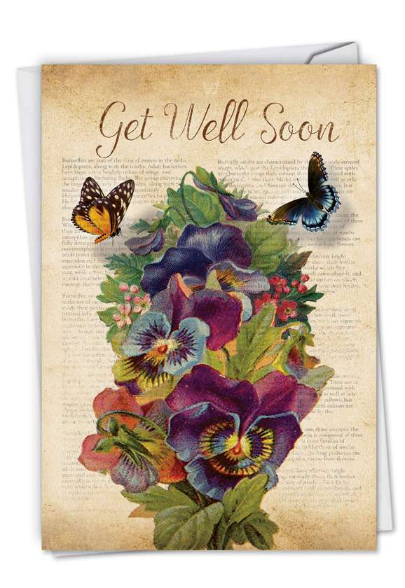Fluttering Words: Stylish Get Well Paper Greeting Card
