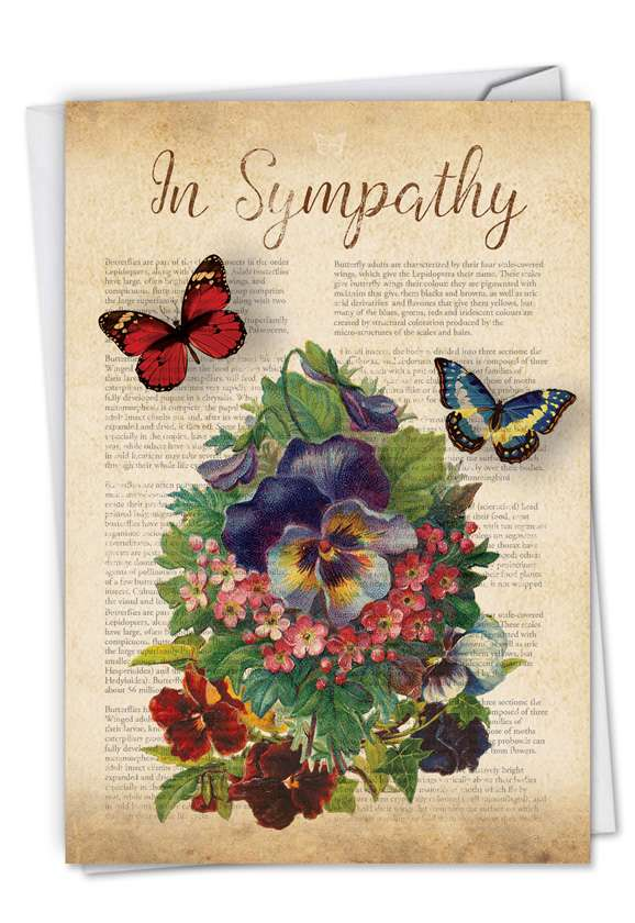 Fluttering Words: Creative Sympathy Printed Greeting Card