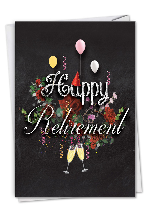 Chalk and Roses - Retirement: Stylish Retirement Paper Card