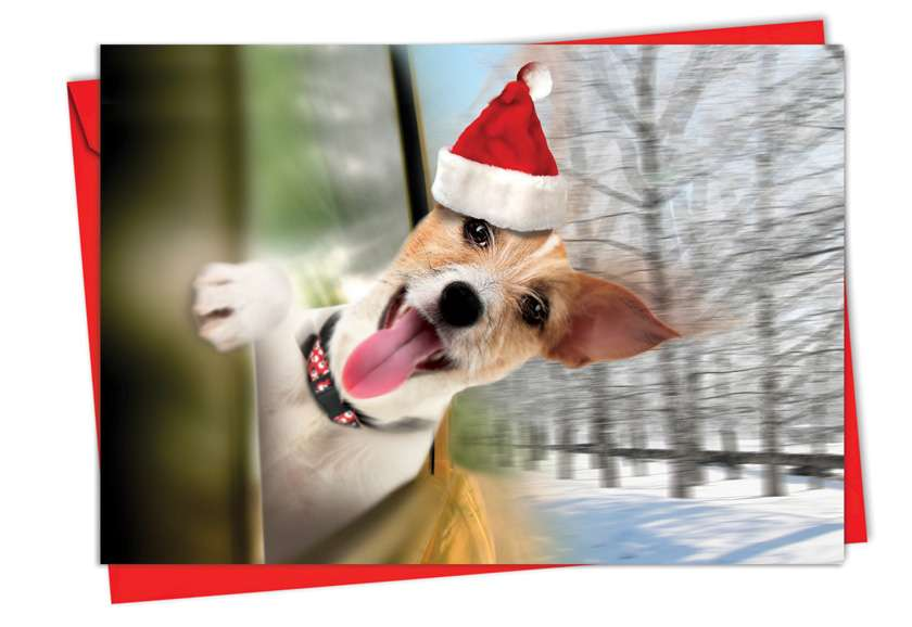 Holiday Doggie in the Window: Creative Christmas Printed Greeting Card