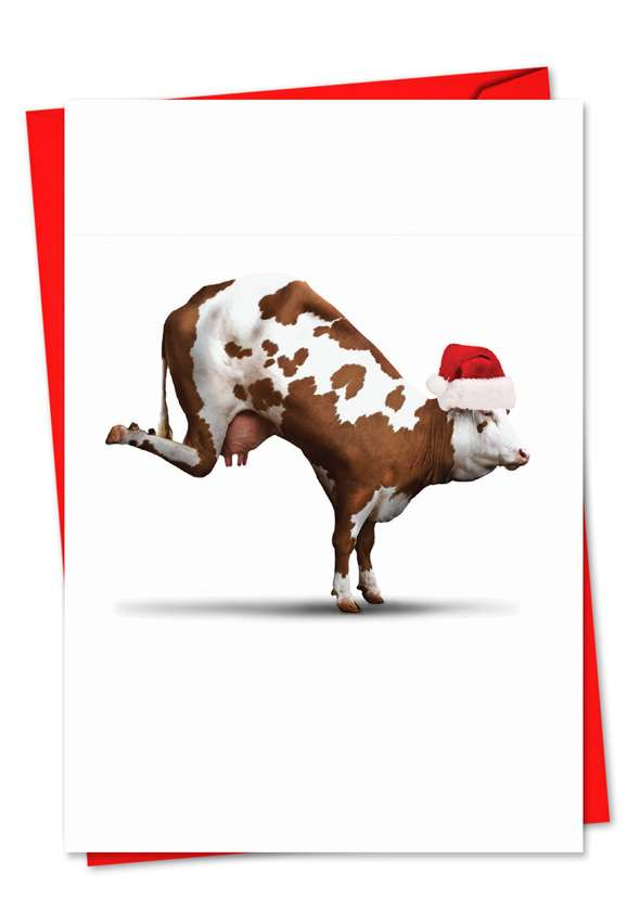 Holiday Bovine Nirvana: Stylish Christmas Greeting Card