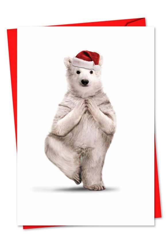 Yuletide Zoo Yoga: Stylish Christmas Paper Greeting Card