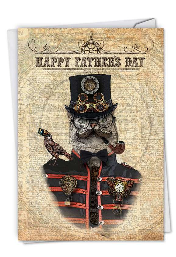 Steampunk Cats: Stylish Father's Day Greeting Card