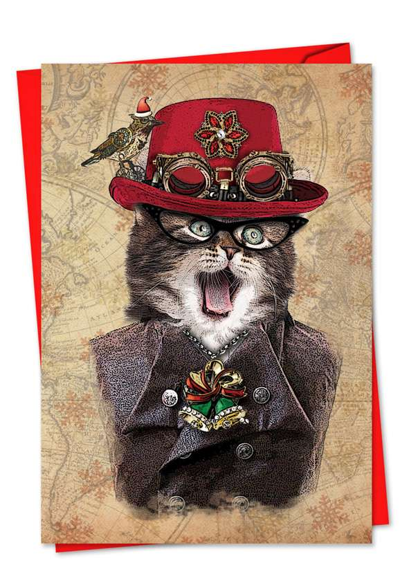 Steampunk Cats: Creative Christmas Printed Card