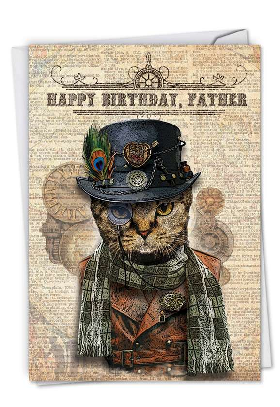 Steampunk Cats: Creative Birthday Father Printed Greeting Card