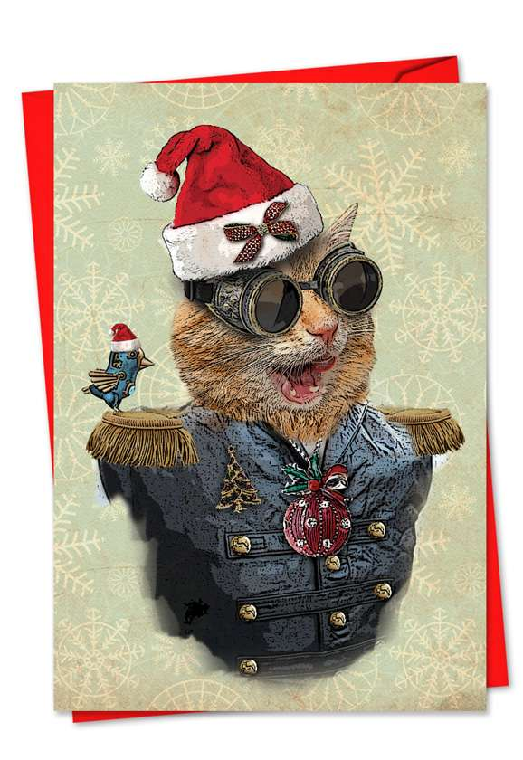 Steampunk Cats: Stylish Christmas Paper Card