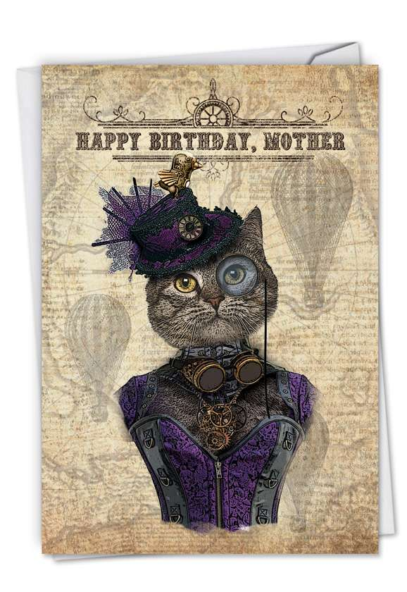 Steampunk Cats: Creative Birthday Mother Greeting Card