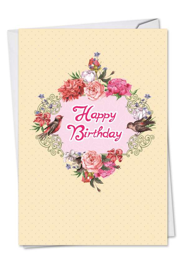Birds and Blossoms: Creative Birthday Printed Card