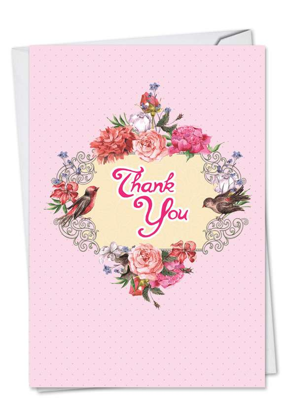 Birds and Blossoms: Creative Thank You Printed Greeting Card
