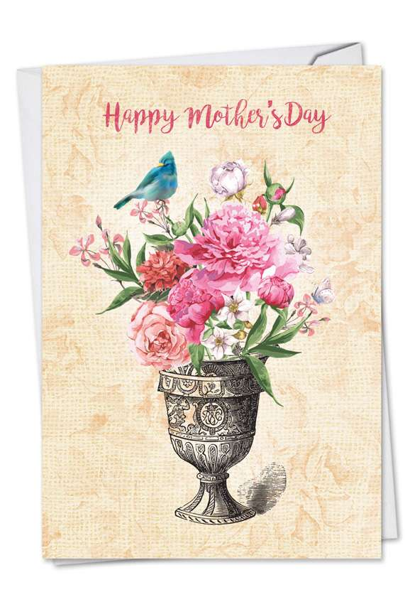 Blooming Urns: Creative Mother's Day Printed Greeting Card