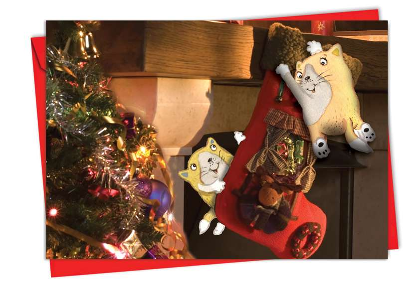 Holiday Fuzzy Tummies: Creative Christmas Printed Greeting Card