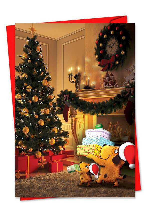 Holiday Fuzzy Tummies: Stylish Christmas Printed Greeting Card