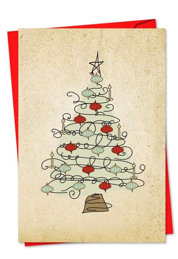 Retro Tannenbaum: Creative Christmas Paper Greeting Card