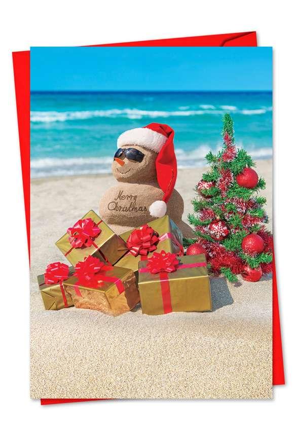 Season's Beachin': Creative Christmas Paper Greeting Card