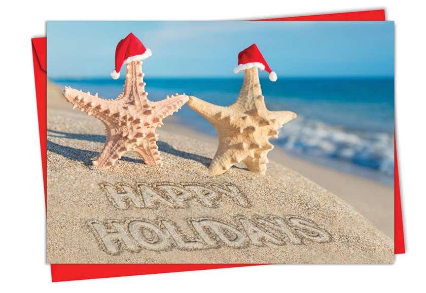 Season's Beachin': Stylish Christmas Printed Greeting Card