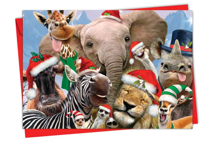 Merry Christmas to Zoo: Stylish Christmas Paper Greeting Card