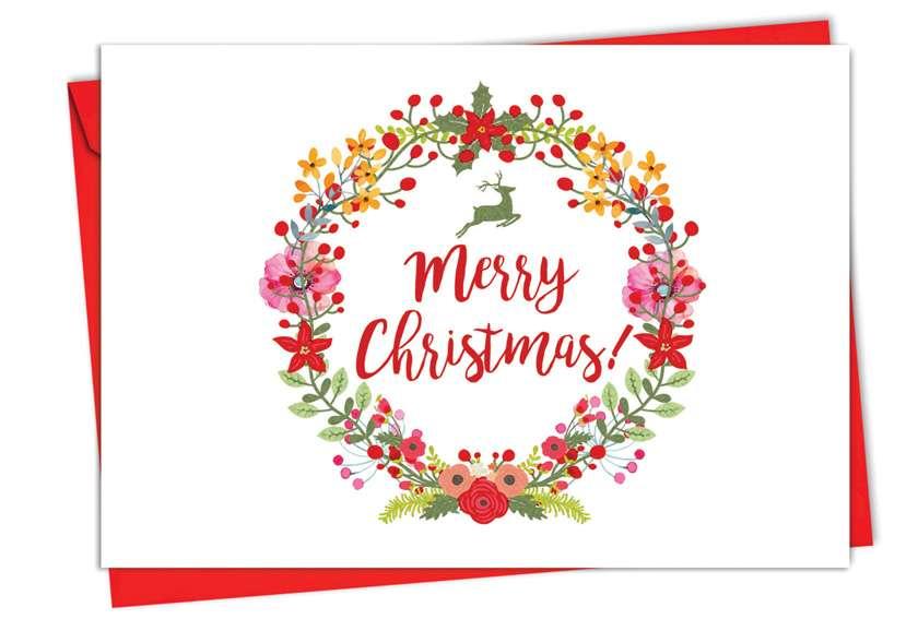 Watercolor Wreaths: Stylish Christmas Greeting Card