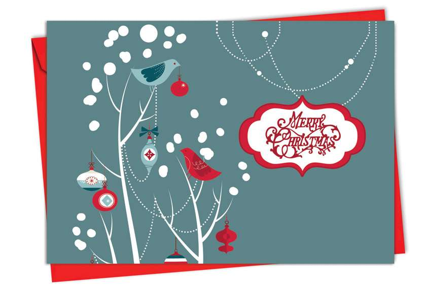 Red and Blue Retro: Creative Christmas Printed Greeting Card