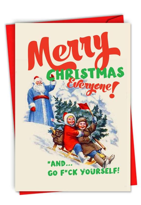 Greetings to Everyone: Hilarious Merry Christmas Printed Card