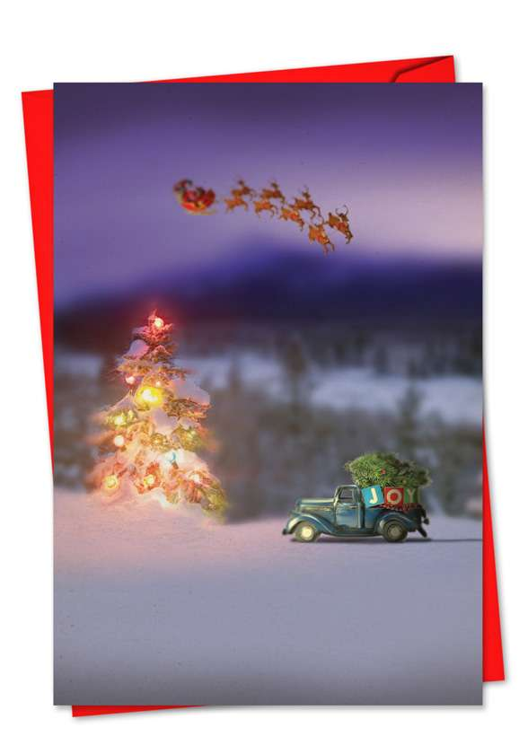 Toy Trucks 'N Trees: Stylish Christmas Paper Card