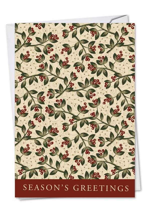 Holiday Leaflike: Stylish Blank Paper Greeting Card