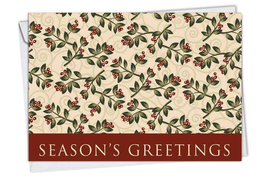 Holiday Leaflike: Creative Blank Printed Greeting Card