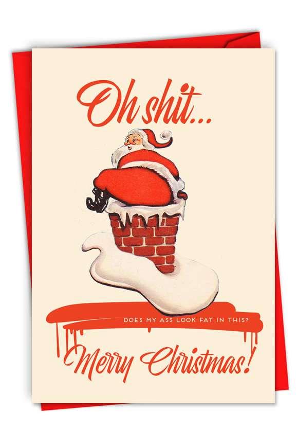 Fat Santa: Humorous Merry Christmas Paper Card