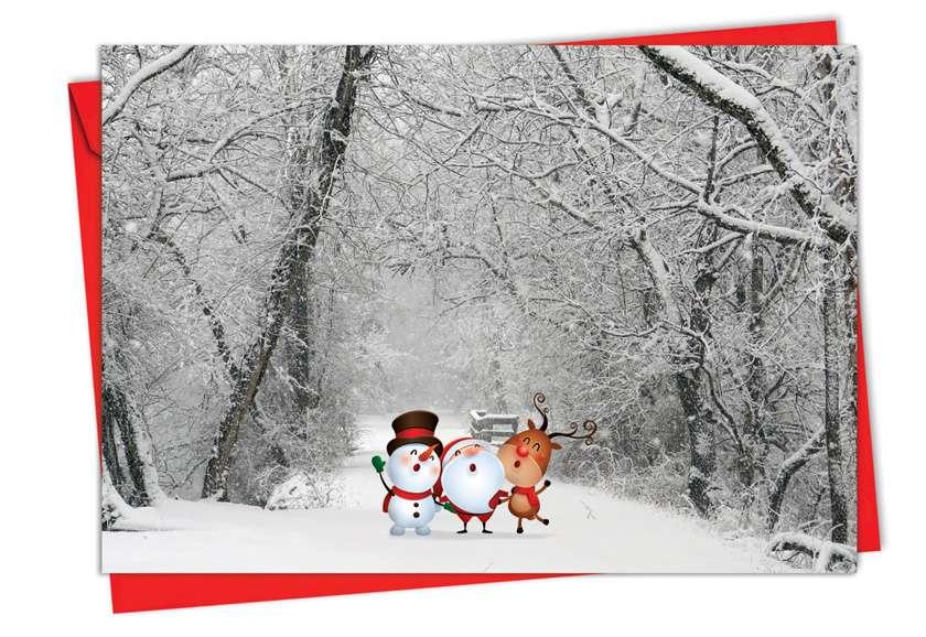 Santa Paths: Stylish Christmas Printed Greeting Card