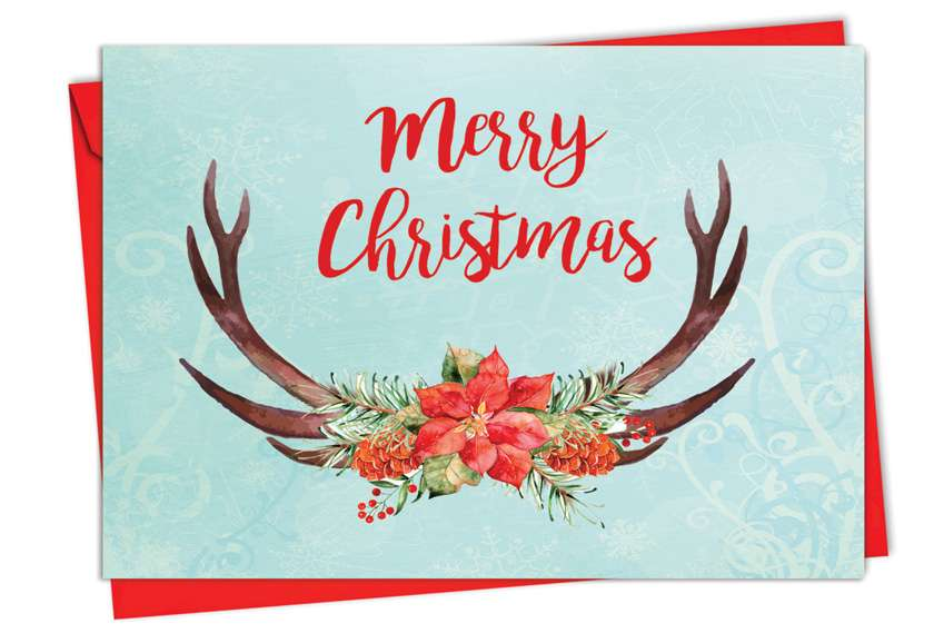 Floral Horns: Stylish Christmas Printed Greeting Card