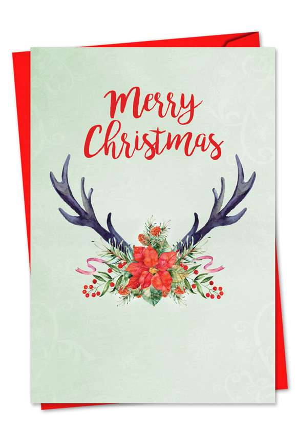 Floral Horns: Creative Seasons Greetings Paper Card