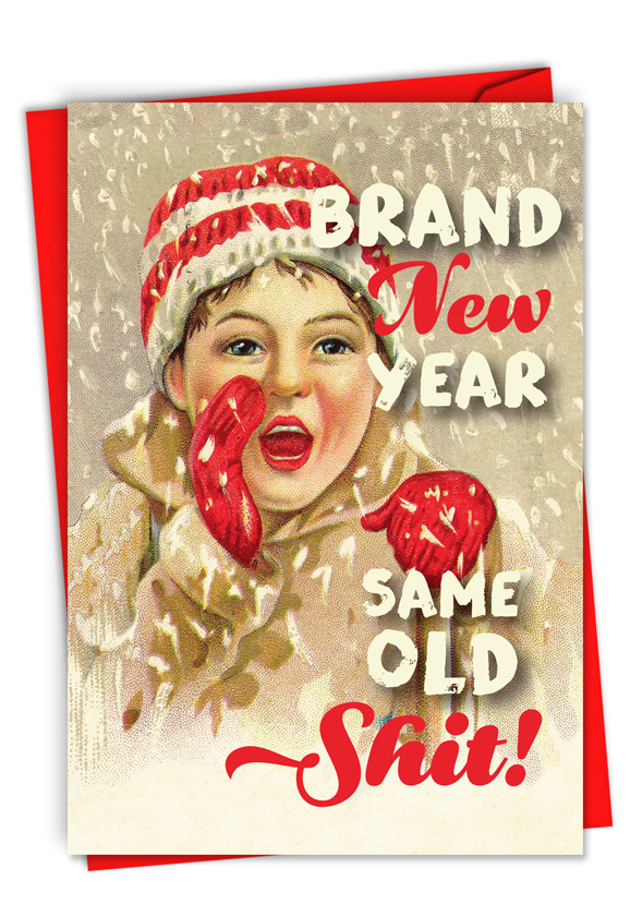 Brand New Year: Funny Merry Christmas Paper Greeting Card