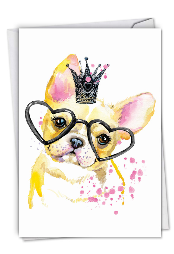 Funky Colorful Creatures Dog: Creative Birthday Printed Greeting Card