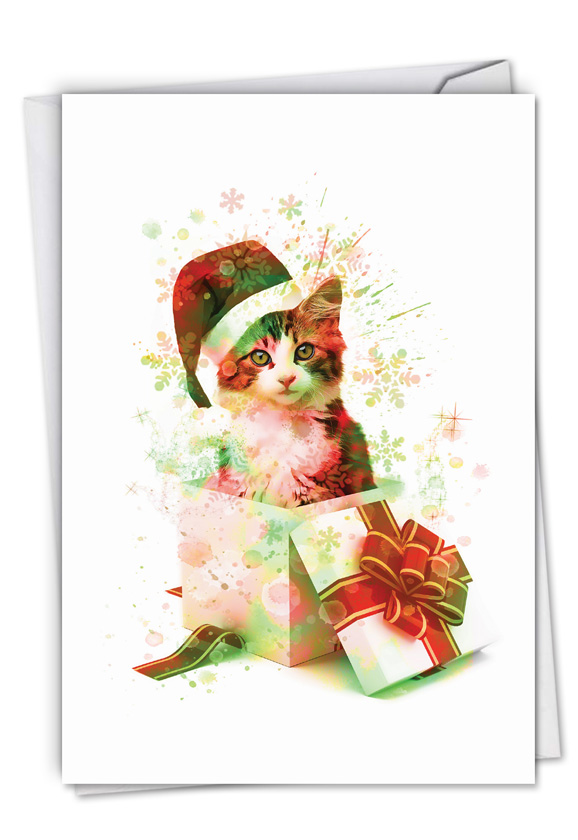 Funky Rainbow Holiday Cats: Stylish Merry Christmas Paper Card