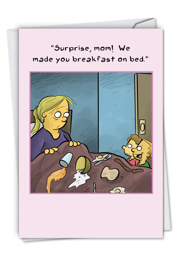 Breakfast On Bed: Humorous Mother's Day Card