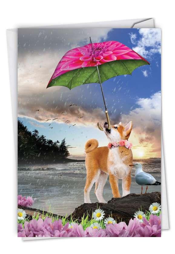 Raining Dogs - Blue Skies: Stylish Birthday Paper Greeting Card