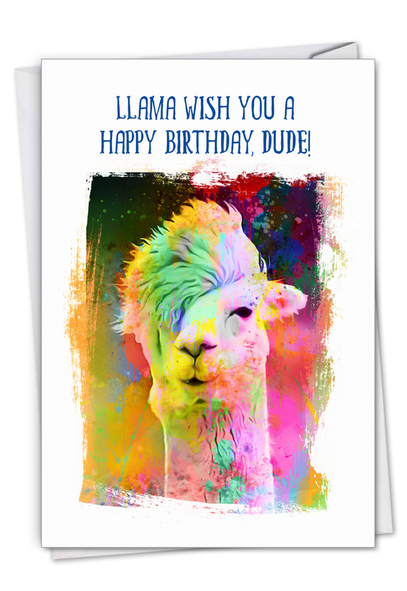 Funky Rainbow Llamas: Stylish Birthday Paper Greeting Card
