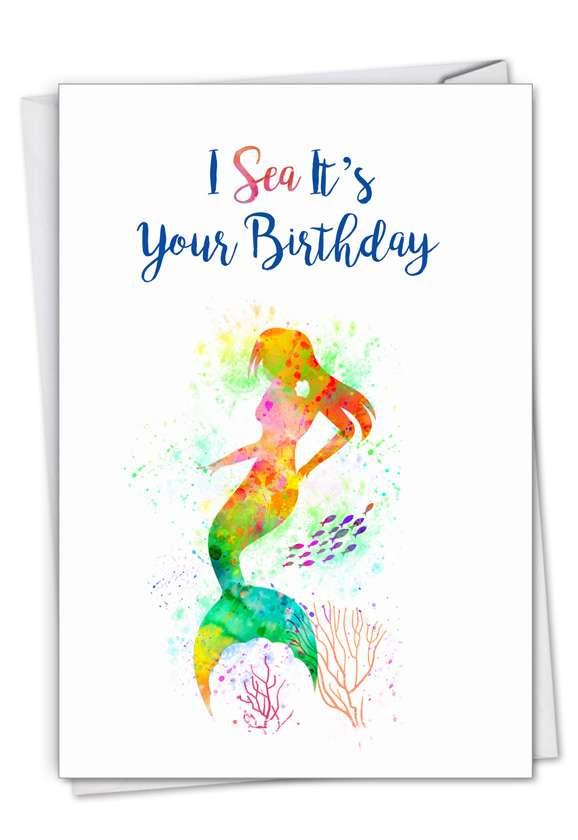 Funky Rainbow Mermaids: Stylish Birthday Card