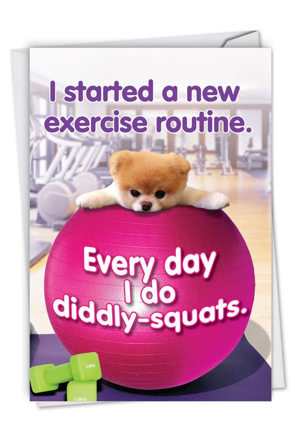 Boo's New Exercise Routine: Humorous Birthday Paper Card