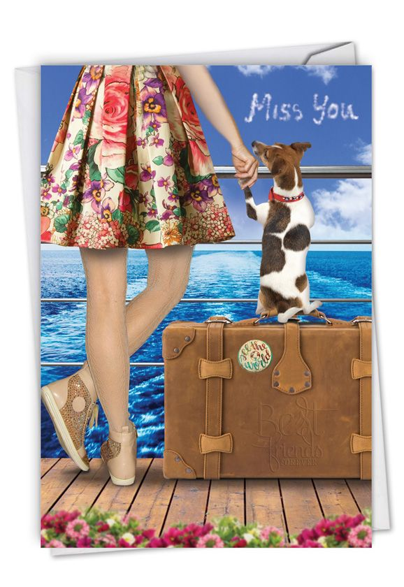 Dog and Friend: Creative Miss You Greeting Card