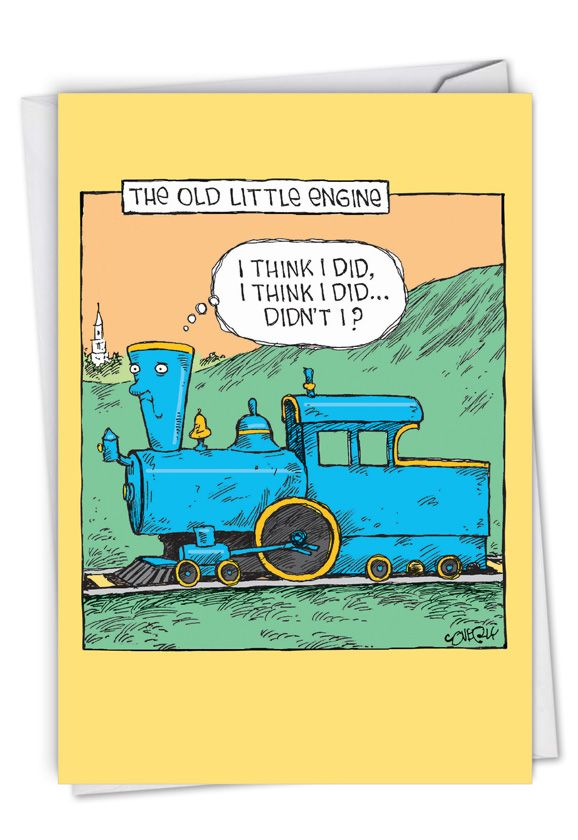Old Little Engine: Funny Birthday Paper Card
