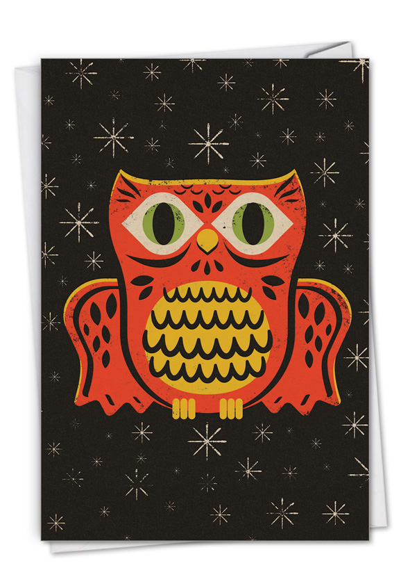 Halloween Masks - Owl: Creative Halloween Printed Greeting Card