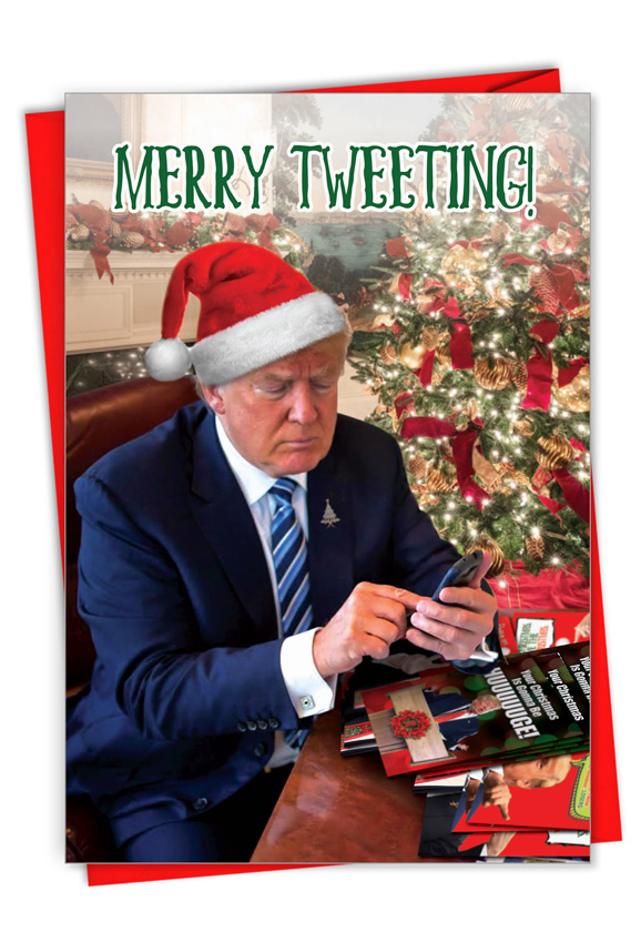 Merry Tweeting: Funny Merry Christmas Paper Card