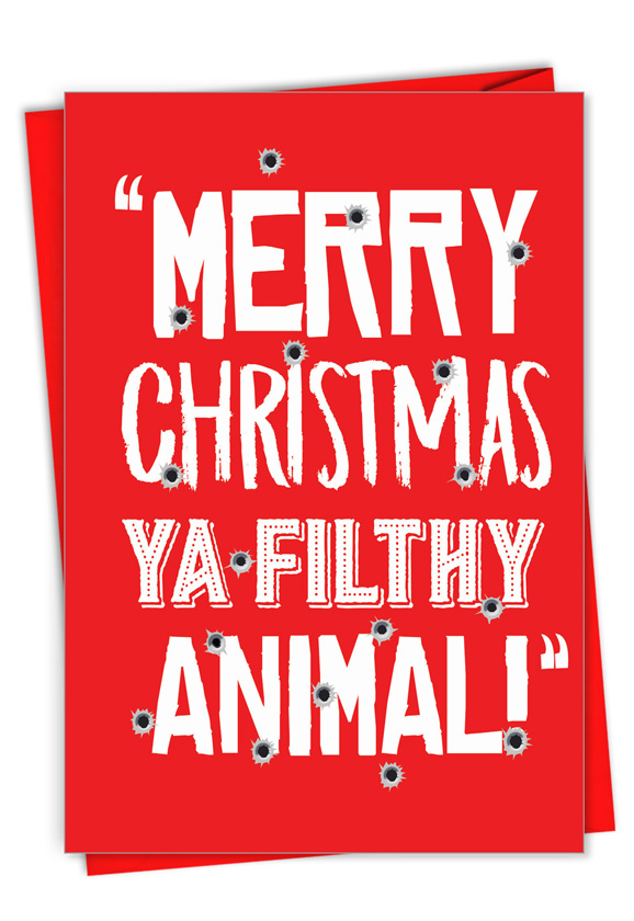 Filthy Animal: Humorous Merry Christmas Paper Greeting Card