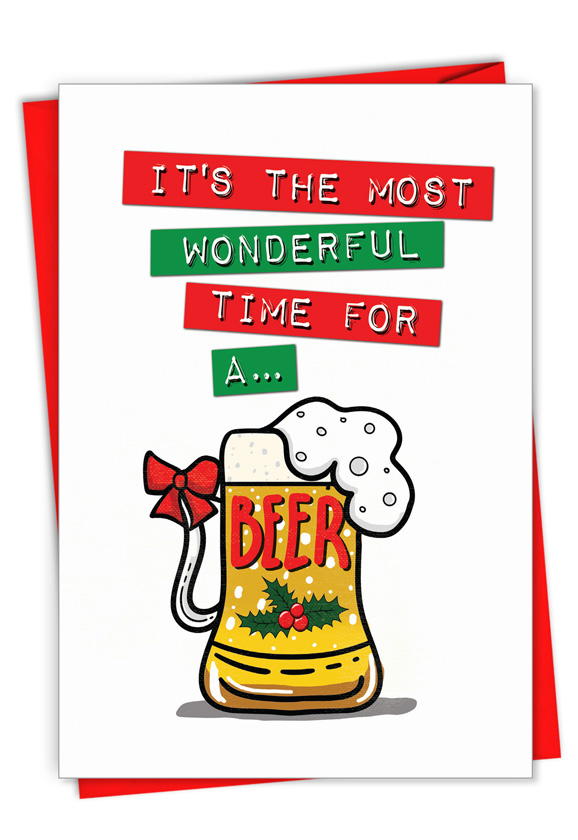Beer Time: Humorous Merry Christmas Card