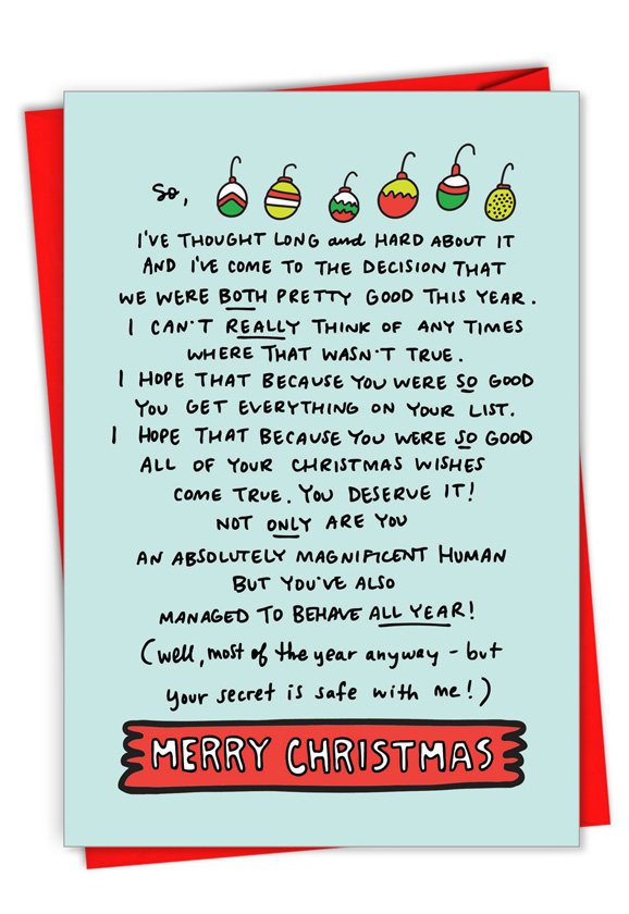 Both Pretty Good: Funny Merry Christmas Card