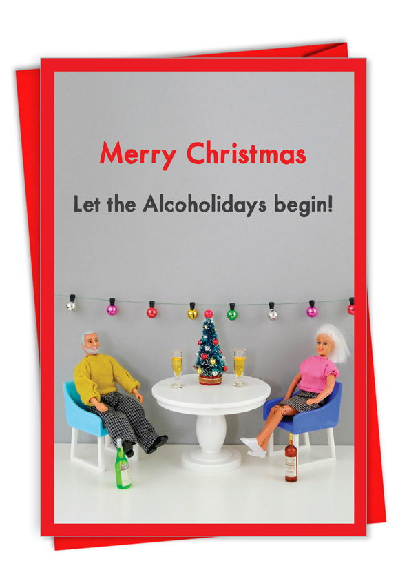 Alcoholidays: Humorous Merry Christmas Paper Card