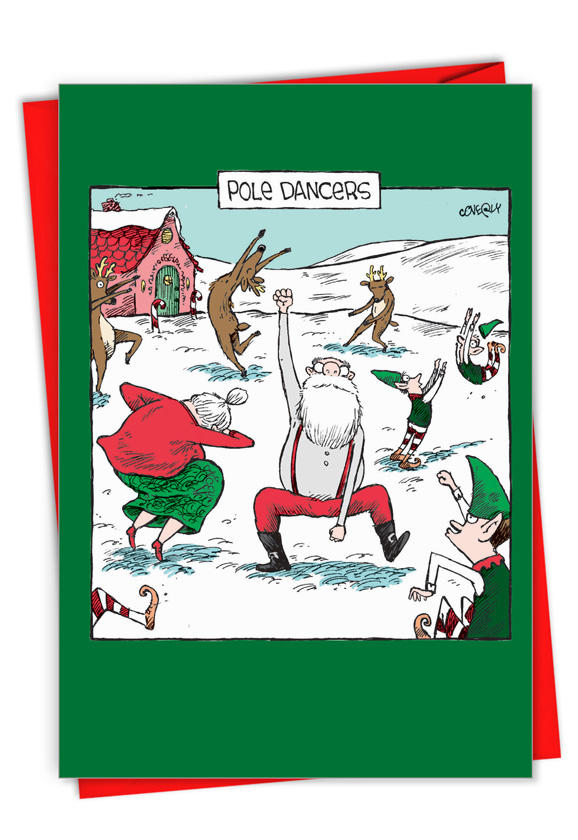 Pole Dancers: Funny Merry Christmas Paper Card