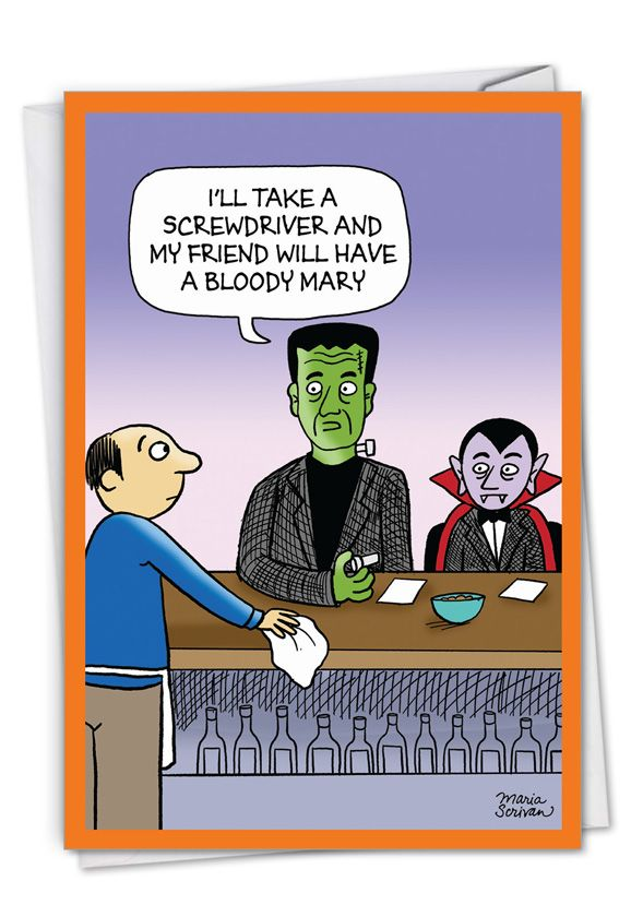 Monster Drinks: Humorous Halloween Card