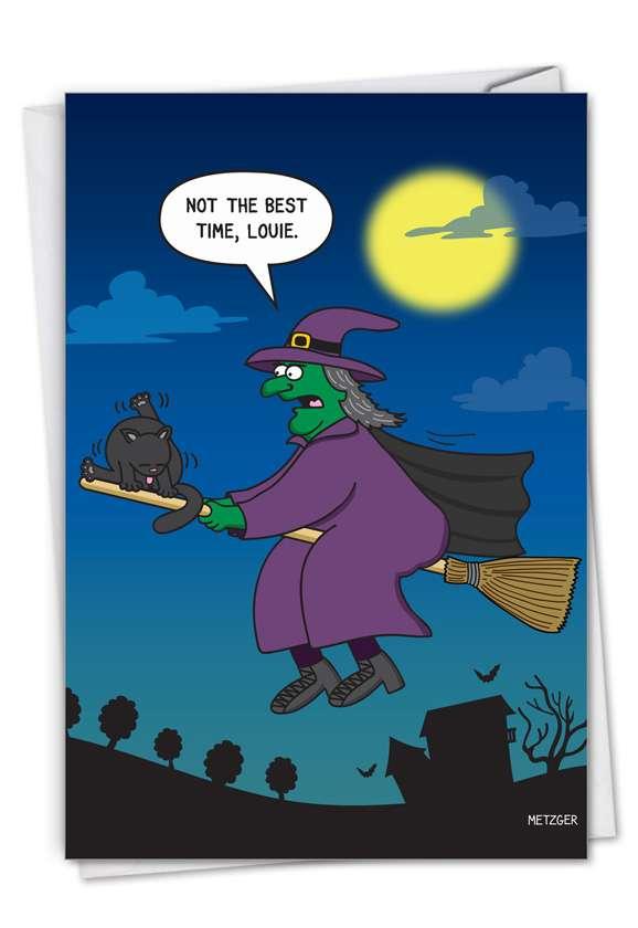 Cat On Broom: Hilarious Halloween Greeting Card